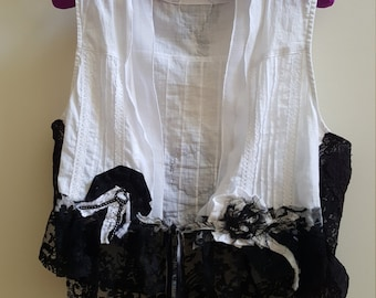 Black and White French Inspired Tattered Cotton and Lace Upcycled Cropped Vest