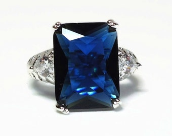 CZ Sapphire & Diamond Cocktail Ring 8 Carat Emerald Cut and Pear Shaped Crystals in 925 SF New Old Stock - Vintage 80's Costume Jewelry