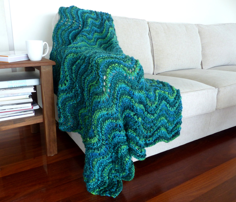 Blue Throw Blanket Chunky Knit Blanket Green Knit Throw
