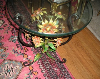 Vintage Colourful Sun Flowers Italian Tole Painted Rustic Cottage Chic/Romantic Farm House Table/Stand