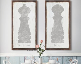 Salt and Pepper Large Framed Kitchen Sign Set