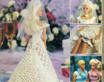 Crochet BARBIE & KEN WARDROBE Leisure Arts 2132 Wedding Gown Honeymoon Attire