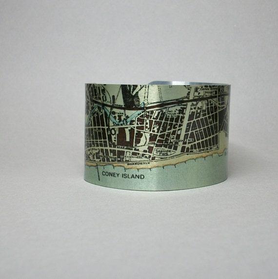 coney island new york vintage map brighton cuff
