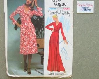 Vintage Vogue 1549 Sewing Pattern, Diane Von Furstenberg, Wrap Dress Pattern, Vogue American Designer, 1970s Dress Pattern, WITH LABEL