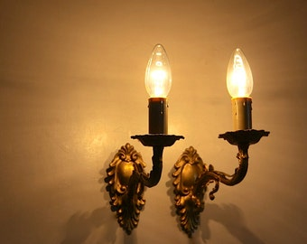 French Antique Wall Sconces, Bronze Electric Candelabras, Ormolu Style Wall Lights