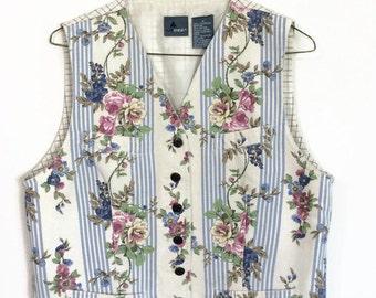 Vintage Floral & Stripes Vest