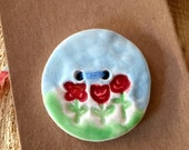 Ceramic Button- Oversized Flower Button - Red Flower Garden  button - Handmade Focal Button - Spring Button - Focal Button