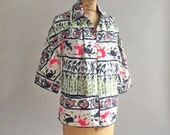 RESERVED // Vintage 1950s Handpainted Swim Cover-Up Jacket Crab & Beach Ball Novelty Print
