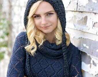 Crochet Pixie Hat for Women / Gnome Hat / Women's Crochet Hat / Fall Fashion / Winter Hats for Women / Crochet Hood / Gothic Hat / Elf Hat