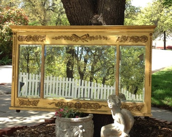 """WALL MIRROR - Federal Period Antique - Griffins & Scrolls - 46"""" Long - Triple Beveled Mirrors - Breathtaking Over Mantle"""