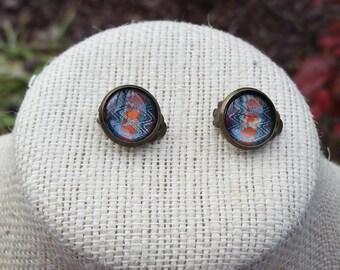 Southwest Jewelry, Cabochon Earrings, Clip On Earrings, Clip-On Earrings, Glass Cabochon, Cabochon Stud, Antique Bronze, Earrings