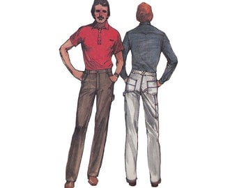 Mens Straight Legged Pants Butterick 3117 Straight Leg, Fly Front, Shaped Pockets Size 40 Waist 34 Vintage 1980s Menswear Sewing Pattern