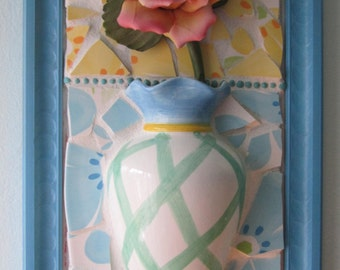 """Mosaic Vintage Rose Napoleon Capodimonte / Vase 3D Wall Art  """" I Never Promised You A Rose Garden"""" Mixed Media"""