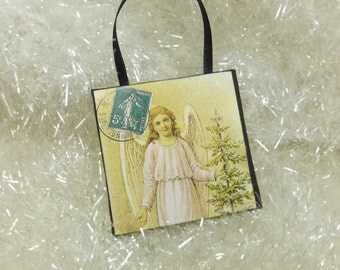 Woodland Angel Ornament, Christmas Angel with Tree Vintage Postcard Miniature Art