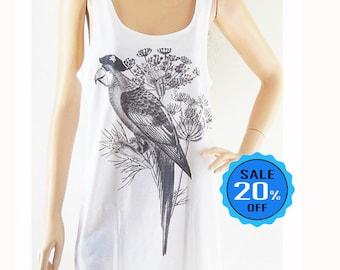 Parrot Parakeet bird animal Style parrot t-shirt funny tee tumblr tops instagram top cool tee women tank top sleeveless screen print size M