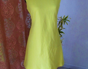Spectacular Vintage 1960's Bright Lemon Yellow and White Chevron Mod Mini Dress made by Nardis of Dallas