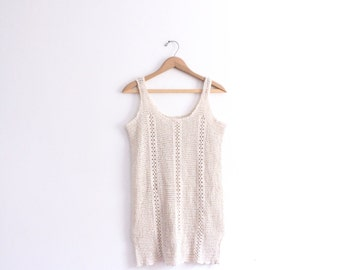 Sheer Crochet 90s Mini Dress
