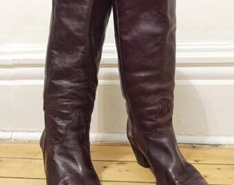 Vintage Burgundy Oxblood Leather Boots - 80's - sz. 8M