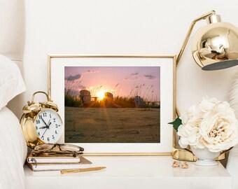 Beach printable art photography, beach wall decor print, digital download photography, beach wall art print, ocean art photo, sunset picture