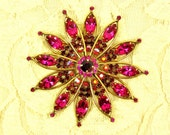 Weiss Pink Rhinestone Brooch, Vintage Atomic Kaleidoscope with Red AB Accents