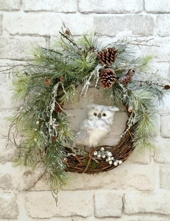 Owl Christmas Wreath Front Door Wreath Christmas Door