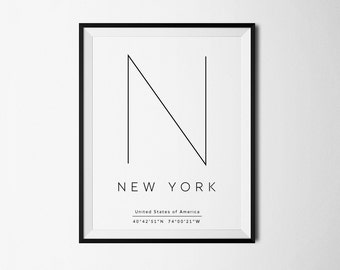 New York City, New York, NYC print, Poster NYC, New York Coordinates, NYC print, nyc art, City Prints, New York print, New York poster