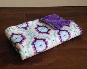 Minky Throw Blanket- Purple Lattice, Greek Key Blanket, Trellis Blanket, Minky Baby Blanket