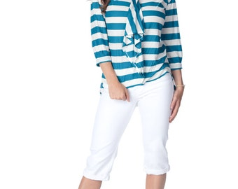 Striped Front Ruffle Top -ruffle top, high low top, summer top, stripe top, office top, v neck top, ruffle blouse, hi low top, striped
