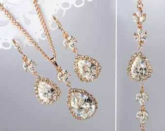 Rose gold Wedding earrings Bridal jewelry set Bridesmaid gift earrings Rose gold jewelry Gold necklace Bridal party gift Crystal earrings