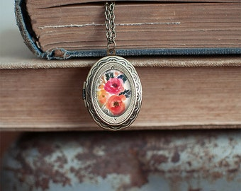 Pink and Peach Floral Locket Necklace ⇻ Glass Dome Necklace ⇻  Locket Necklace