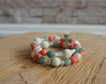 Essential Oil Diffusing Wrap Bracelet with Agate, Coral, and Lava Beads