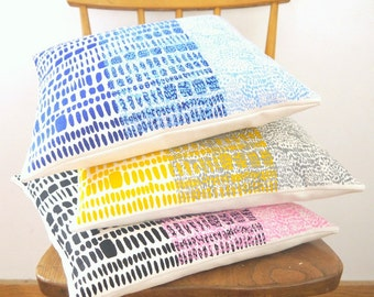 Brushstokes & Scratch screen printed cushions