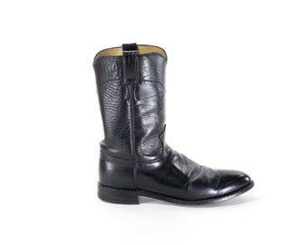 Black Leather Cowboy Boots JUSTIN Western Rocker Boots