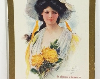 """Woman in Yellow Antique Postcard, 1909 Dark Haired Beauty """"Forever to Remember"""" Post card"""