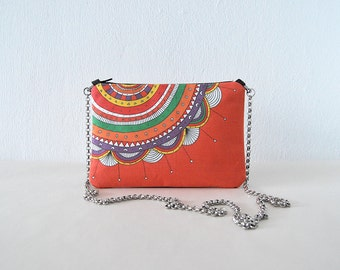 Orange pouch colorful printed design clutch bag multicolor mini handbag small bag flower clutch bag design small bag cotton canvas chain bag
