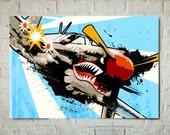Airplane - P-40 Warhawk - Airplane Decor, WWII, Vintage Military, Plane, Airplane Art Print, Aviation Poster, Air Force, Pilot Gift, pop art
