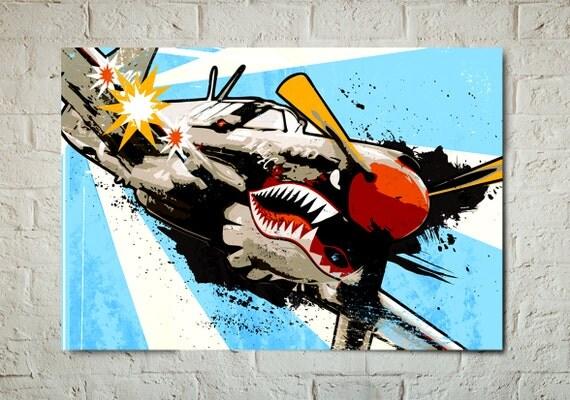 Airplane, Decor, P-40 Warhawk, WWII, Vintage Military, Plane, Airplane Art Print, Aviation Poster, Art for Boys, Airplane Gift