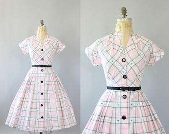 Vintage 50s Dress/ 1950s Cotton Dress/ Light Pink Gingham Print Cotton Dress w/ Belt M