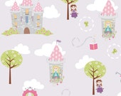 LAMINATED cotton fabric by the yard - Castles on purple Dream Wish Princess EXCLUSIVE (aka oilcloth, coated fabric, tablecloth fabric)