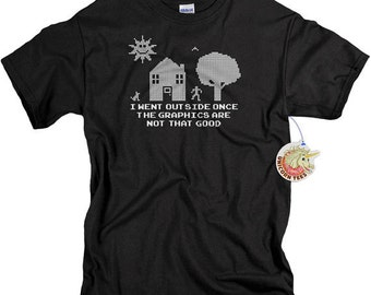 Gifts for Brothers - Funny Tshirts - Geek Gift - Video Game Shirt - I Went Outside Once TShirt - Mens Shirts