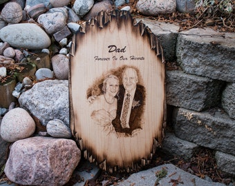 Memorial Portrait Pyrography Wall Plaque Custom Wedding Portrait Anniversary Photo Family Portrait Personalized Wooden Wall Art Wood burning