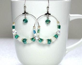Green & White Earrings, Extra Large Hoop Earrings, Beaded Dangle Earrings, Nickle-Free Earwires, Handmade in the USA, Ready to Ship