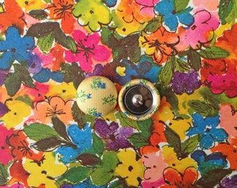 Button Earrings / Yellow / Fabric Covered / Wholesale Jewelry / Bridesmaid Gifts / Made in USA / Small Gifts / Stud Earrings