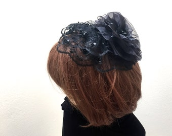 Black Lace Hair Cover, Jewish Hair Cover, Lace Black Hat, Black Lace Kippah