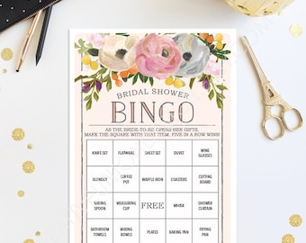 Bridal Shower Bingo Game - 76 Unique Game Sheets - Wedding Shower Game - Shower Bingo - Sweet Blooms - Bridal Bingo Instant Download