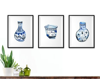 Watercolor painting, Blue and white vase, Asian art, Ginger jar, Tea cup, Set of 3 print, Chinoiserie art print, Oriental home decor