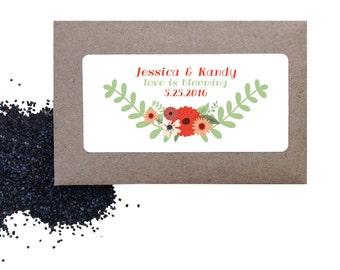 Wedding flower seed favors - floral wild poppy seed favors for wedding or shower - love is blooming