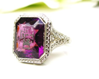Vintage Emerald Cut Purple Glass Ring 14K White Gold Orange Blossom Filigree Ring Maltese Cross & Crown Motif Antique Wedding Ring Size 6