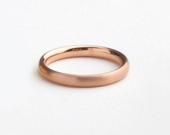 Men's 18k Rose Gold Band, Man Gold Wedding Band, Classic Rose Gold Ring, Men's Wedding Simple Ring, Round Wedding Minimal Ring