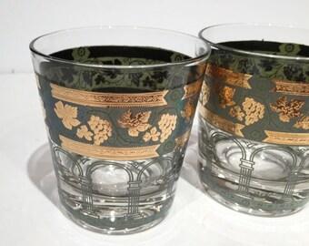 Cera Rocks Glasses, Cera Gold Green Grapes Barware, Golden Grapes & Columns Lowball Rocks Glasses, Hollywood Regency Mad Men